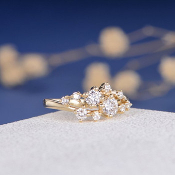 ClusterTwig Floral Unique Snowflake Dainty Flower Mini Wedding Ring