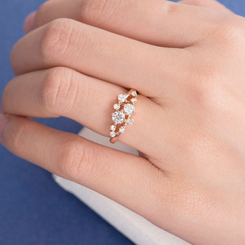 Rose Gold  Floral Unique Snowflake Dainty Flower Mini Wedding Ring