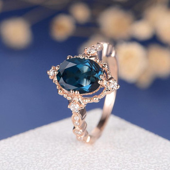 7*9mm Oval Cut Antique London Blue Topaz Engagement Ring