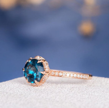 7mm Round Cut Unique London Blue Topaz Halo Flower Engagement Ring