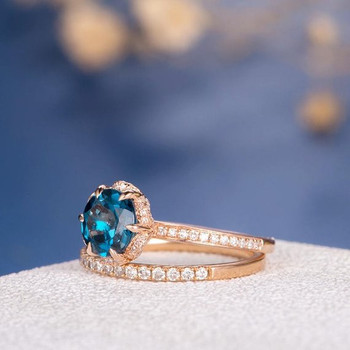 7mm Round Cut London Blue Topaz Halo Eternity Stacking Engagement Ring Set