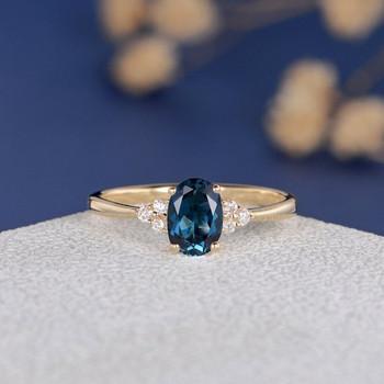5*7mm Oval Cut London Blue Topaz Cluster Diamond  Engagement Ring
