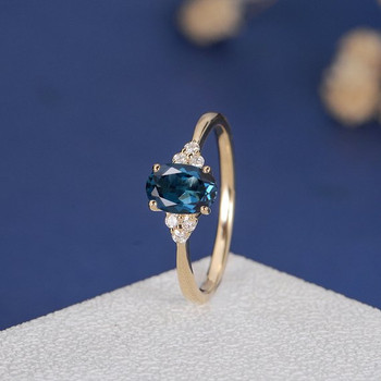 5*7mm Oval Cut London Blue Topaz Cluster Diamond  Engagement Ring