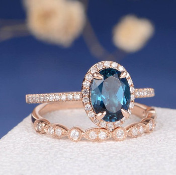 6*8mm Oval Cut London Blue Topaz Unique Engagement Ring Set