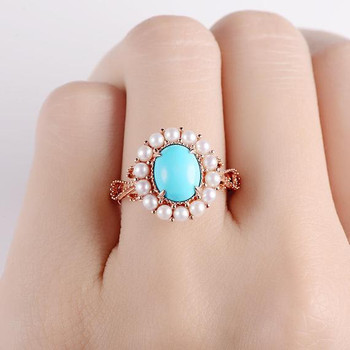 Antique Turquoise Art Deco Akoya Pearl Halo Engagement Ring