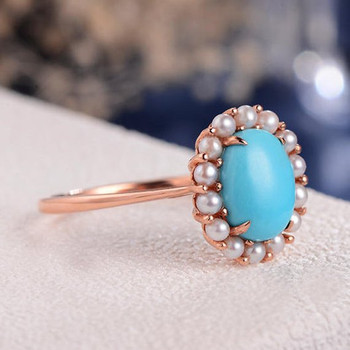 Turquoise Cluster Flower Antique Akoya Pearl Halo Engagement Ring