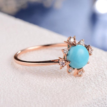 Turquoise Ring Diamond Halo Thin Delicate Star  Engagement Ring