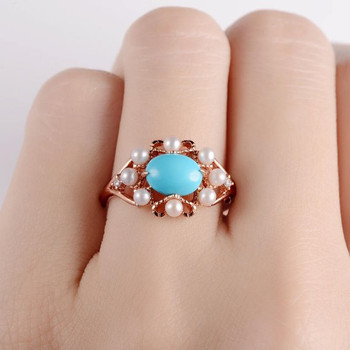 6*8mm Turquoise Halo Akoya Pearl Diamond Split Shank Engagement Ring