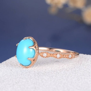 Turquoise Eternity Band Beaded Milgrain Multistone Diamond Engagement Ring