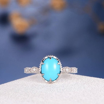 White Gold Turquoise Eternity Band Beaded Milgrain Engagement Ring