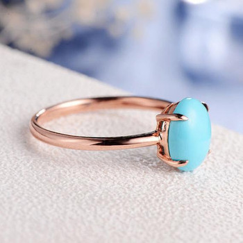 7*9mm Turquoise Ring Rose Gold Solitaire imple Prong Set Promise Ring