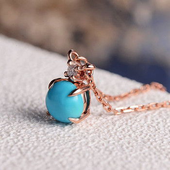 Solitaire Turquoise Necklace Diamond Cluster Delicate Pendant
