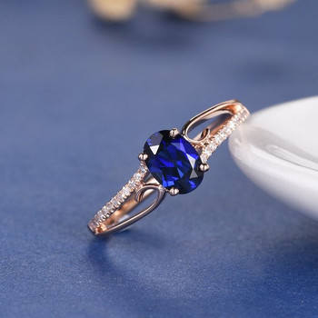 5*7mm Oval Lab Sapphire Unique Curved Engagement Ring
