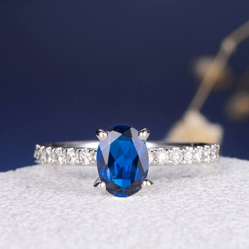 5*7mm Oval Lab Sapphire Diamond Eternity Simple Engagement Ring