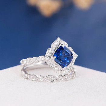 7mm Cushion Cut Lab Sapphire Art Deco  Bridal Set