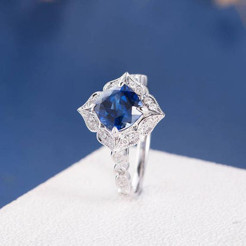 7mm Cushion Cut Lab Sapphire Art Deco Engagement Ring