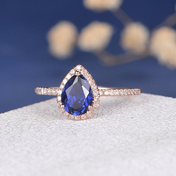 6*8mm Pear Shaped Lab Sapphire Ring Antique Engagement Ring