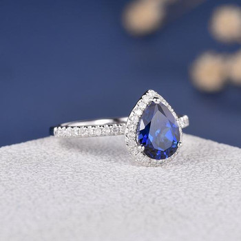 White Gold 6*8mm Pear Shaped Lab Sapphire Ring Antique Engagement Ring