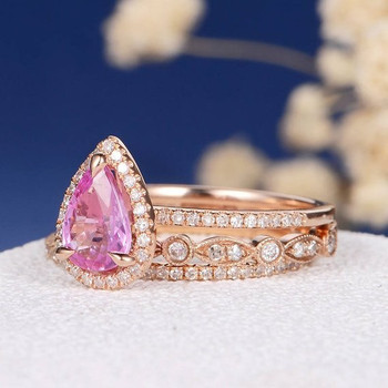 6*8mm Pear Natural Pink Sapphire Dainty Engagement Ring Set