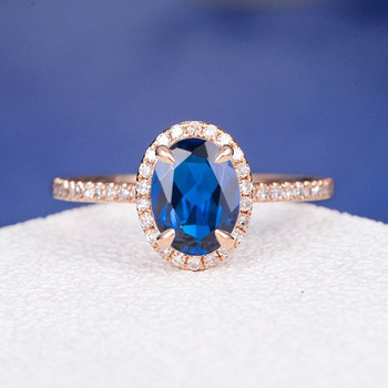 6*8mm Oval Lab Sapphire Diamond  Halo Claw Prongs Engagement Ring