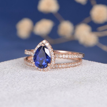 6*8mm Pear Lab Sapphire Full Eternity Wedding Band  Bridal Set
