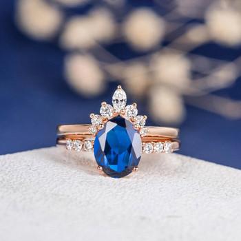 7*9mm Oval Lab Sapphire Curved Wedding Band  Bridal Set