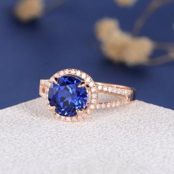 8mm Round Lab Sapphire Diamond  Halo Split Shank Engagement Ring