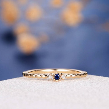 Dainty Sapphire Stacking Ring Yellow Gold Tiny Anniversary Ring