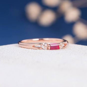 Dainty Baguette Ruby Diamond Cluster Rose Gold Engagement Ring