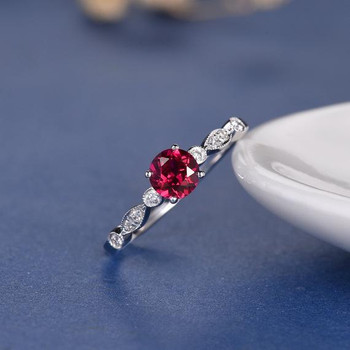 5mm Round Cut Lab Ruby Solitaire Retro Engagement Ring
