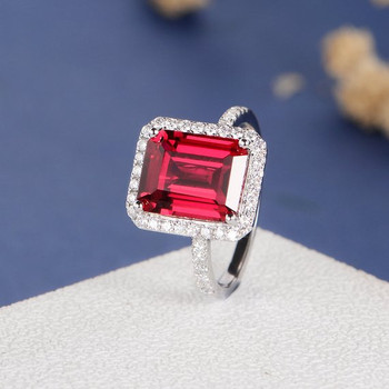 8*10mm Emerald Cut Lab Ruby Diamond Halo Engagement Ring
