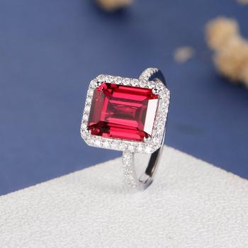 8*10mm Emerald Cut Lab Ruby Diamond Halo Engagement Ring