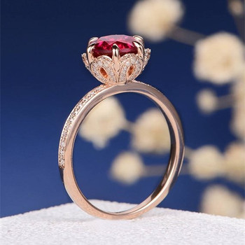 7mm Lab Ruby Antique Flower Diamond Halo Engagement Ring