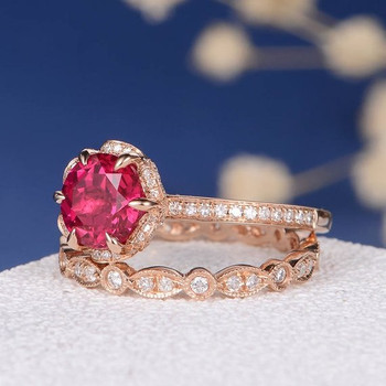 Lab Ruby Flower Diamond Halo Art Deco Wedding Band Bridal Set