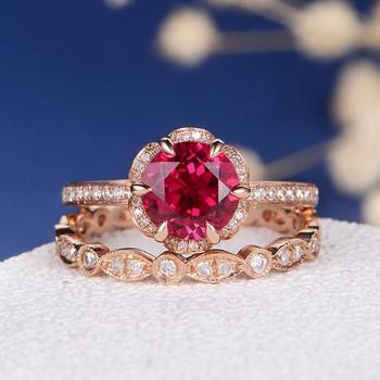 Lab Ruby Flower Diamond Halo Art Deco Wedding Band Bridal Set