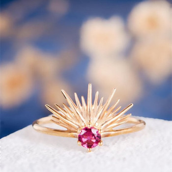 Round Cut Natural Ruby Sun Flower Halo Anniversary Gift