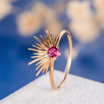 Round Cut Natural Ruby Sun Flower Halo Anniversary Gift