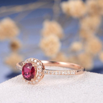 Oval Cut Natural Ruby Half Eternity Solitaire Halo Diamond Wedding Ring