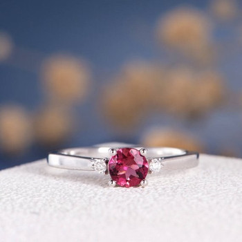 5mm Natural Tourmaline Three Stone Rubellite Wedding Ring