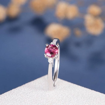 5mm Natural Tourmaline Three Stone Rubellite Wedding Ring