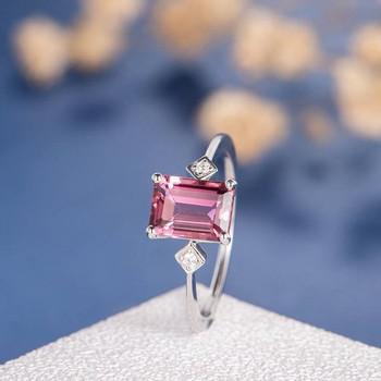 6*8mm Natural Tourmaline Thin Band Antique  Wedding Ring
