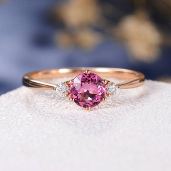 5mm Pink Tourmaline Three Stone Rubellite Wedding Ring