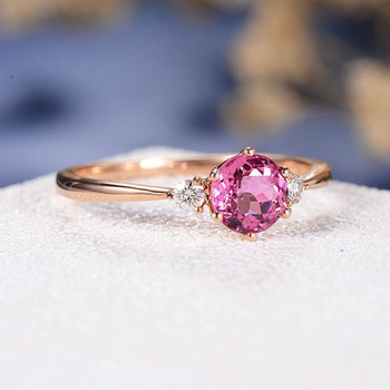 5mm Pink Tourmaline Three Stone Rubellite Wedding Ring