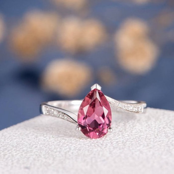 6*9mm Pear Shape Pink Tourmaline Half Eternity Engagement Ring
