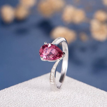 6*9mm Pear Shape Pink Tourmaline Half Eternity Engagement Ring