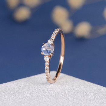 5mm Rainbow Moonstone Classic Retro Engagement Ring