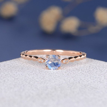 5mm Rainbow Moonstone Antique Wedding Ring