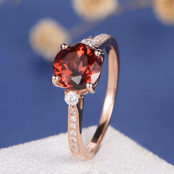 Unique Minimalist Red Stone Garnet Engagement Ring