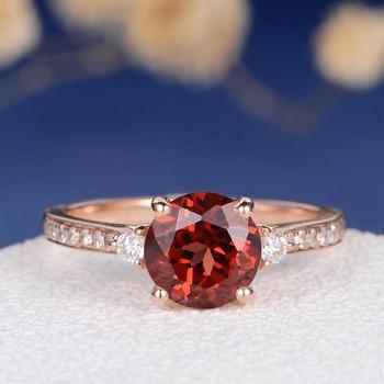 Unique Minimalist Red Stone Garnet Engagement Ring