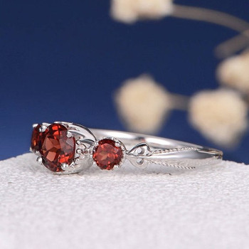 Three Stone Garnet  Art Deco Antique  Engagement Ring